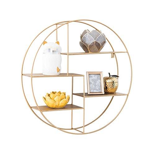 WCUI Eisen runder Regal, kreatives Gold Wandmontage Wohnzimmer auf der Wand Trennwand Rahmen Bücherregal Restaurant Shop Display Stand 70 * 70 * 16.5cm Wählen ( größe : 70*70*16.5cm )