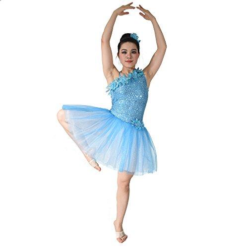 Midee Mädchen Blumen - Diagonale Hals Paillettenbesetzte Kleid Tanzen Ballett - Trikot (IC, Bauer (Kleid Kostüme Mädchen Bauer)