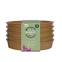 Haxnicks Bamboo Plant Pot Saucers, Terracotta, 13cm (Pack of 5), Brown