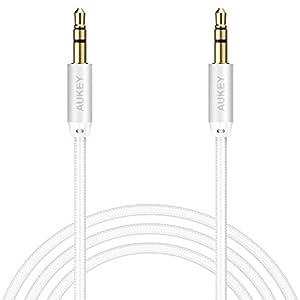 AUKEY Cavo AUX Nylon Intrecciato 1.2M 3.5mm Cavi Audio per Smartphone , Mp3 , iPad , Radio , CD/DVD , Laptop , Altoparlante , TV , Auto ecc. - Argento