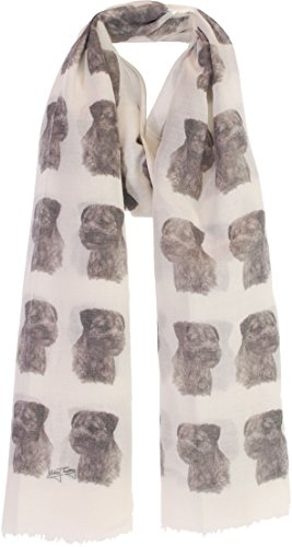 Border Terrier gifts for women ladies scarf with dogs on - Exclusive Mike Sibley Fashion Scarf Signature Collection - Perfect Gift for Any Dog Lover - Hand Printed in the UK