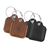 [4 Pack] Fintie Genuine Leather Case for Tile Mate (2016 & 2018) / Tile Pro/Tile Sport/Tile Style Key Finder Phone Finder, Anti-Scratch Protective Skin Cover with Keychain CTSB0016US