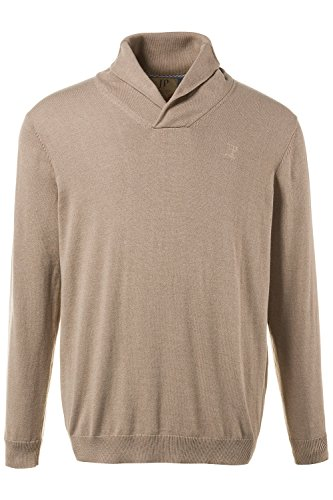 JP 1880 Herren große Größen Bis 7 XL | Pullover in beige | Sweatshirt aus 100 % Baumwolle | Schalkragen, gerippte Bündchen & Meliert | 708266 Sand