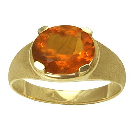 SKIELKA DESIGNSCHMUCK Feueropal Ring Gold Goldschmiedearbeit (Gelbgold 585) - 11x9 mm - Feueropal mit Expertise
