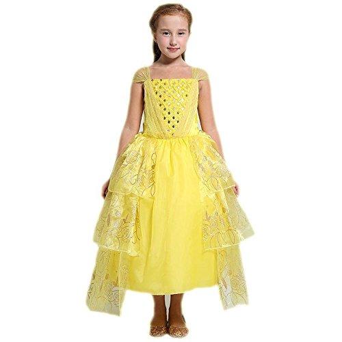Mädchen Prinzessin Belle Kostüm Kleider Deluxe Party Fancy Dress Up für Mädchen, gold