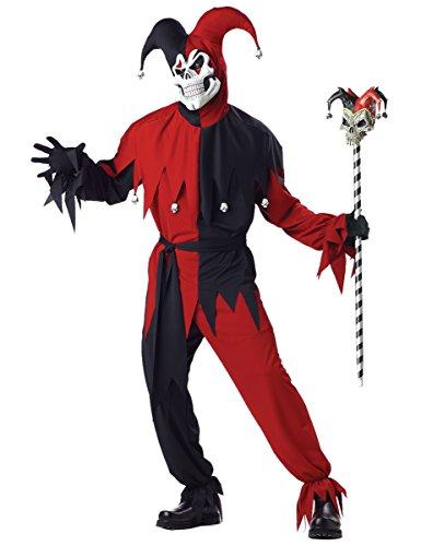KULTFAKTOR GmbH Böser Clown Harlekin Halloween-Kostüm rot-schwarz XL ()