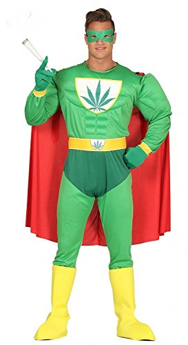 shoperama Herren-Kostüm Marihuana Hanf Superheld mit Muskeln Superhero Erwachsene JGA Karneval Junggesellenabschied, - Lustig Super Hero Kostüm