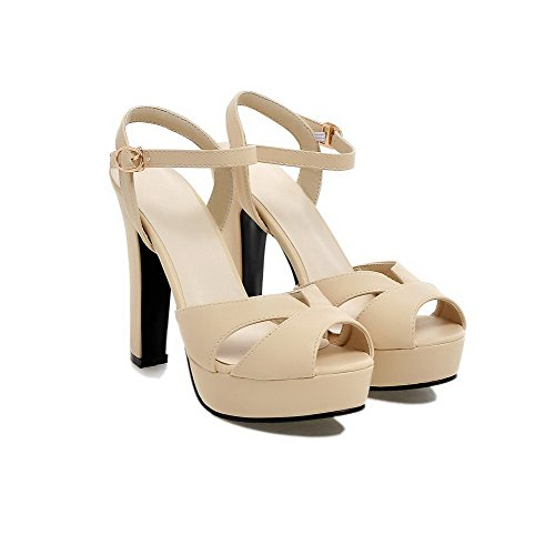 AllhqFashion Damen Weiches Material Rein Schnalle Sandalen Mit Hohem Absatz Aprikosen Farbe