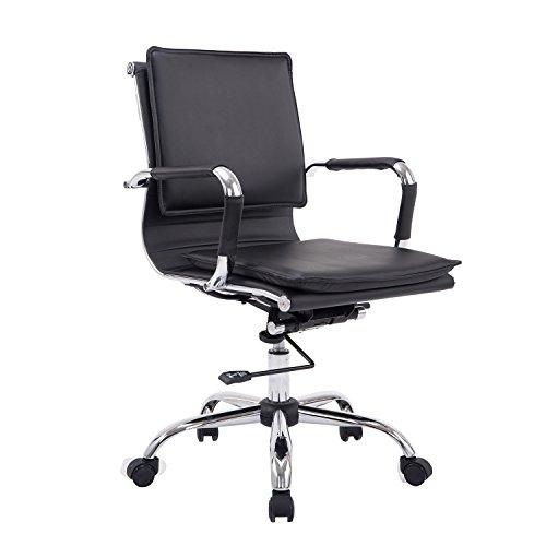 Homcom Chaise de Bureau pivotante Ergonomique Hauteur réglable Design Contemporain métal chromé Simili Cuir Noir Neuf 45BK