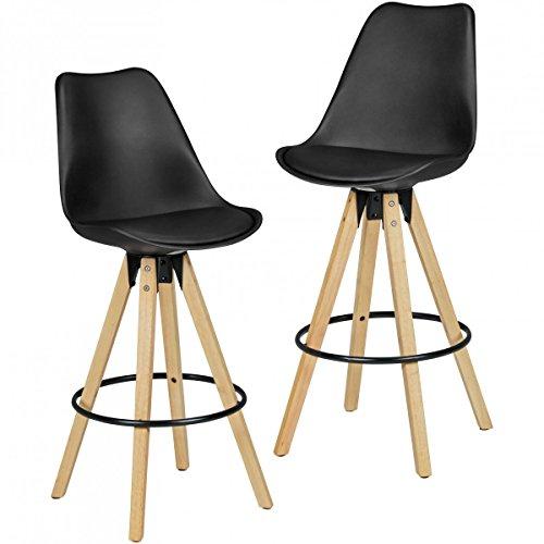 FineBuy 2er Set Barhocker Retro Design Kunst-Leder Holz mit Rücken-Lehne in schwarz | Design Barstuhl Retro Skandinavisch 2 Stück | Tresenhocker Sitzhöhe 72 cm