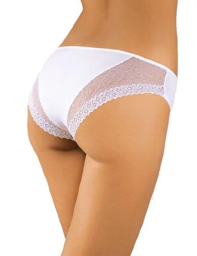 Midi Bikini Stil atmungsaktives Damen Slip Weiß