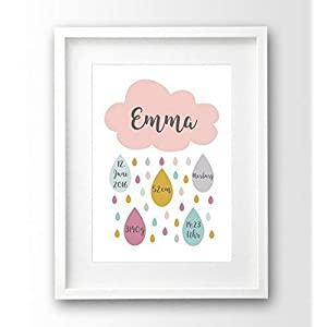 Geburtsanzeige personalisiert A4 ohne Rahmen, Wolke rosa, Geschenk Geburt Taufe Mädchen, Geburtsdruck