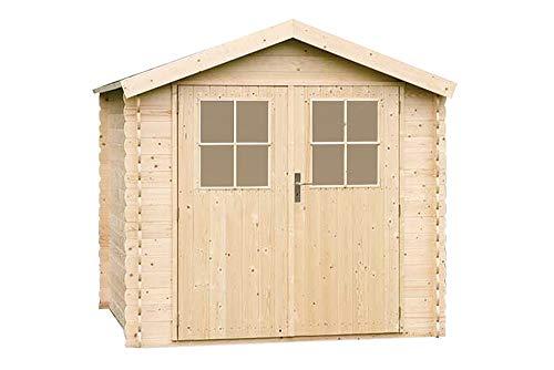 Alpholz Gerätehaus MONS aus Fichten-Holz | Gartenhaus inkl. Dachpappe | Geräteschuppen naturbelassen ohne Farbbehandlung (225 x 210cm)