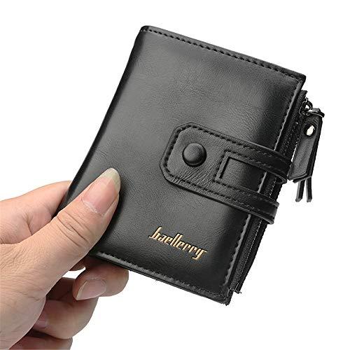 QIAN Unisex PU Leder Geldbörse Kurze Brieftasche mit großem Fassungsvermögen Reißverschluss Für Männer mit Münzfach Kleine Geldbörsen mit Reißverschluss Herren,Black