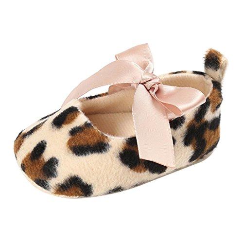 Babyschuhe Longra Baby Kleinkind Mädchen Nette Leopard Print Krippe Schuhe Soft Prewalker Soft Sole Anti-Rutsch Schuhe (12CM 6~12 Monate, Khaki) Baby Leopard Print