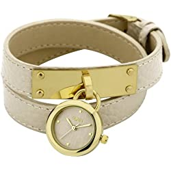 Oasis Ladies Quartz Watch with Gold Dial Analogue Display and Beige Stainless Steel Bracelet B1119