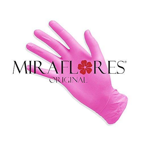 guanti senza lattice Guanti Monouso in Nitrile Rosa - Confezione da 100 Guanti - Disponibili Misure S e M - Guanto Usa e Getta Senza Lattice - Senza Polvere e Anallergico (M)