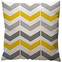 JiaMeng Funda de cojín de Almohada, Patrón geométrico Amarillo Throw Pillow Case Cushion Funda de