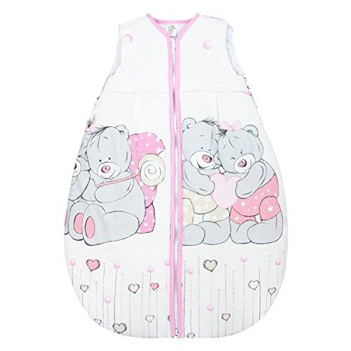TupTam Baby Unisex Schlafsack Ärmellos Wattiert, Farbe: Kuschelbären Rosa, Größe: 80-86