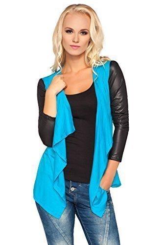 futuro fashion femme chic Pull-over Cardigan cascade effet mouillé manches coton BLAZER BOLERO style 8079 Tuequoise