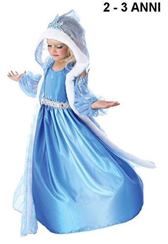 Inception Pro Infinite TG100 Kleid mit Kapuze - Karnevalskostüm - Frozen - ELSA - Hellblau - 2 - 3 Jahre