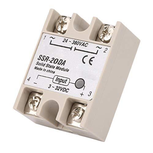 Keenso Halbleiterrelais SSR-20DA DC Control AC 20A Solid State Relay SSR Machinery Control Input 3-32V DC to 24-380V AC Solid-Modulzustandsrelais -