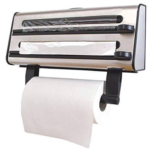 Burwells 3 en 1 Triple Rollo dispensador para Papel Toalla de Cocina, película de adherencia y lámina de Aluminio