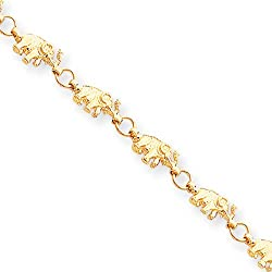 Black Bow Jewellery Company Halskette, 14 K Gelbgold Madagaskarpalme, Dickfuß Erhöhte Armband 17.78 cm