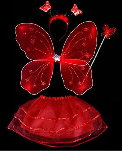 RLING Rock Flügel 4 tlg Fairy 1-10 Jahre Gr. 80-140 Fasching (Rot) (Rot Schmetterling Kostüm)