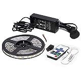 Market&YCY LED-Streifenlicht-Kit, 16,4 Fuß 300LEDs flexibles nicht-wasserdichtes Mehrfarben 5050 Warmes Weiß Beleuchtung,Stromadapter + 12V 5A Fernbedienung Taste 11