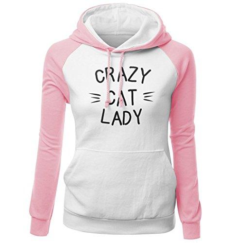 DYF Sweats à Capuche Femme manches longue sangle Hat épaissie poche Imprimer Pink White