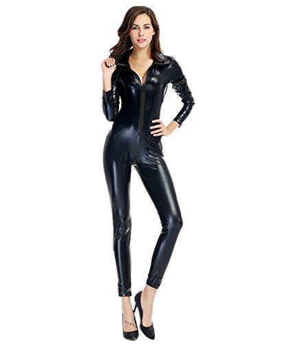 Imagen de disfraz de gato para mujer cuero de patente mono elastico cosplay clubwear negro xl