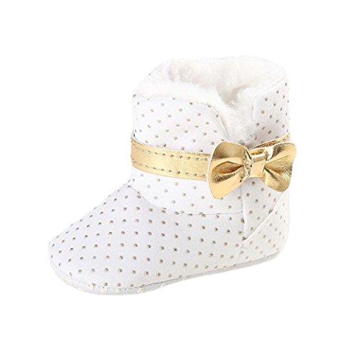 Hunpta Neue jungen Lauflernschuhe Baby Kleinkind Kind Mädchen Schnee Stiefel Soft Sole Prewalker Krippe Schuhe (12, Dark Blue) Weiß