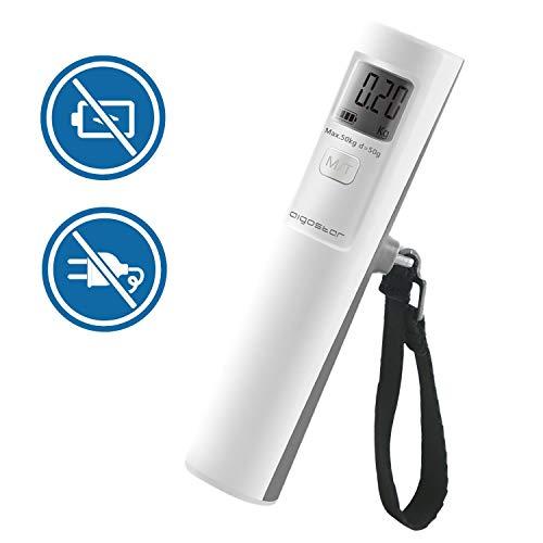Aigostar Feather 30LDD – Báscula digital para equipaje. Sin baterías, pantalla LCD, encendido activado por movimiento. Diseño exclusivo