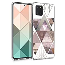 kwmobile Case Compatible with Samsung Galaxy Note 10 Lite - TPU Crystal Clear Back Protective Cover IMD Design - Patchwork Triangles Light Pink/Rose Gold/White