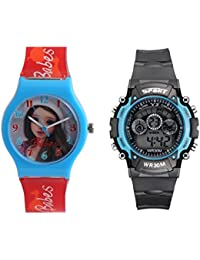 Fantasy World Light Blue Watch And Sport Watch Combo For Boys And Girls