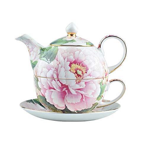 TAO Tee-Set Bone China, Teekanne und Teetasse Kombination, handbemalte Pfingstrose, geeignet für Familien, Ornamente, Geschenke -