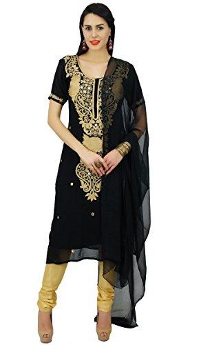 Atasi Frauen Schwarz Bestickt Kurti Gerade Salwaar Kameez mit Dupatta Reeindymeinde indischen Kleid individuell gestaltete Kleidung (Kameez Salwar Dupatta)