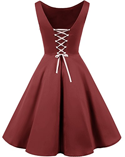 Bridesmay 50s Retro Vintage Rockabilly Kleid Partykleider Ärmellos CocktailKleid Burgundy