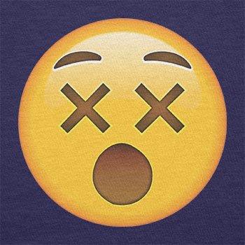 TEXLAB - Dizzy Face Emoji - Herren Langarm T-Shirt Navy
