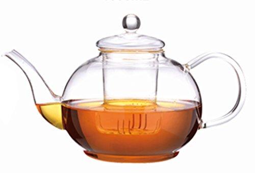Teekanne aus Glas 1800 ml. Fassungsvermögen Glaskanne mit Teefilter.