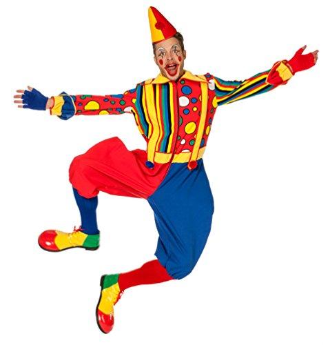 Karneval-Klamotten Clown-Kostüm Herren Männer bunt gepunktet gestreift Herren-Kostüm Overall Größe 56 (Clown Overall Kostüm)