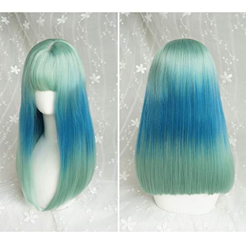 WUX Lange gerade Harajuku Lace Front Perücken mit Air Pony 2 Tonfarbe Blau Grün Gemischte Gradienten Hitzebeständige Kunstfaser Haar für Cosplay (Ausgabe : Wigs, größe : 40cm)