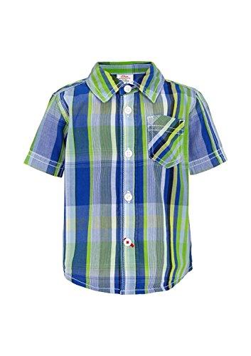 s.Oliver Baby - Jungen Hemd 65.504.22.6349, Kariert, Gr. 80, Mehrfarbig (Blue Dobby 55K1) - Dobby Kurzarm-shirt