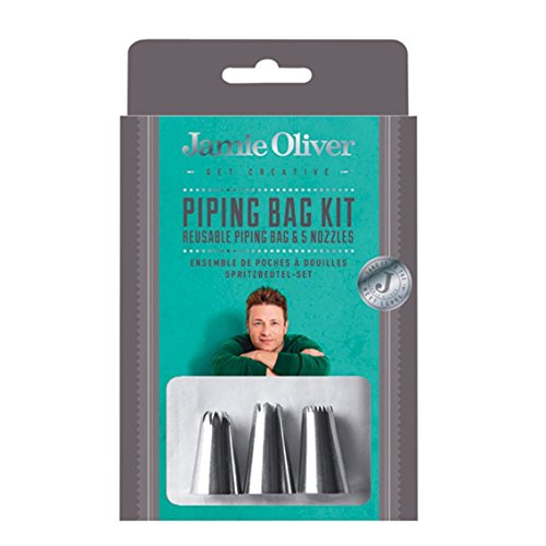 Jamie Oliver Icing Bag with Tips Set, Frosting Piping Kit Reusable for Cake Decorating - 5 Piece -