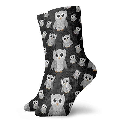 Unisex-Socken mit grauer Eule, atmungsaktiv, für Laufen, Wandern, Wochenende, Sport, Sportsocken, kurz, Crew-Socken, 30 cm