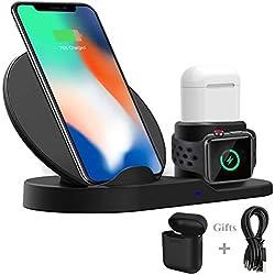 Wonsidary Station de Charge pour Apple, Chargeur Rapide sans Fil Support de Recharge Dock Compatible avec la série iWatch 1 2 3, iPhone X XS Max 8 8 Plus, Samsung S9 S8+ Appareils avec Qi