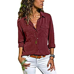 UMIPUBO Bluas de Mujer Camisa Algodón Blusa Mujer Elegante Manga Larga Camisa Suelta Mujer Casual Invierno Primavera Shirts (M, Vino Rojo)