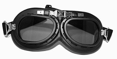ATO 102 - Occhiali da aviatore in stile vintage per moto, colore nero