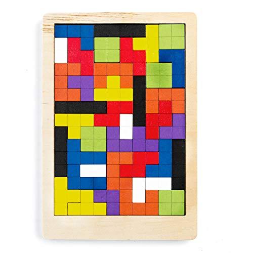 olz-Puzzle Jigsaw Kinder-Spielzeug Pädagogisches Denkspiel Tetris Holzpuzzle mit Bausteinen ()